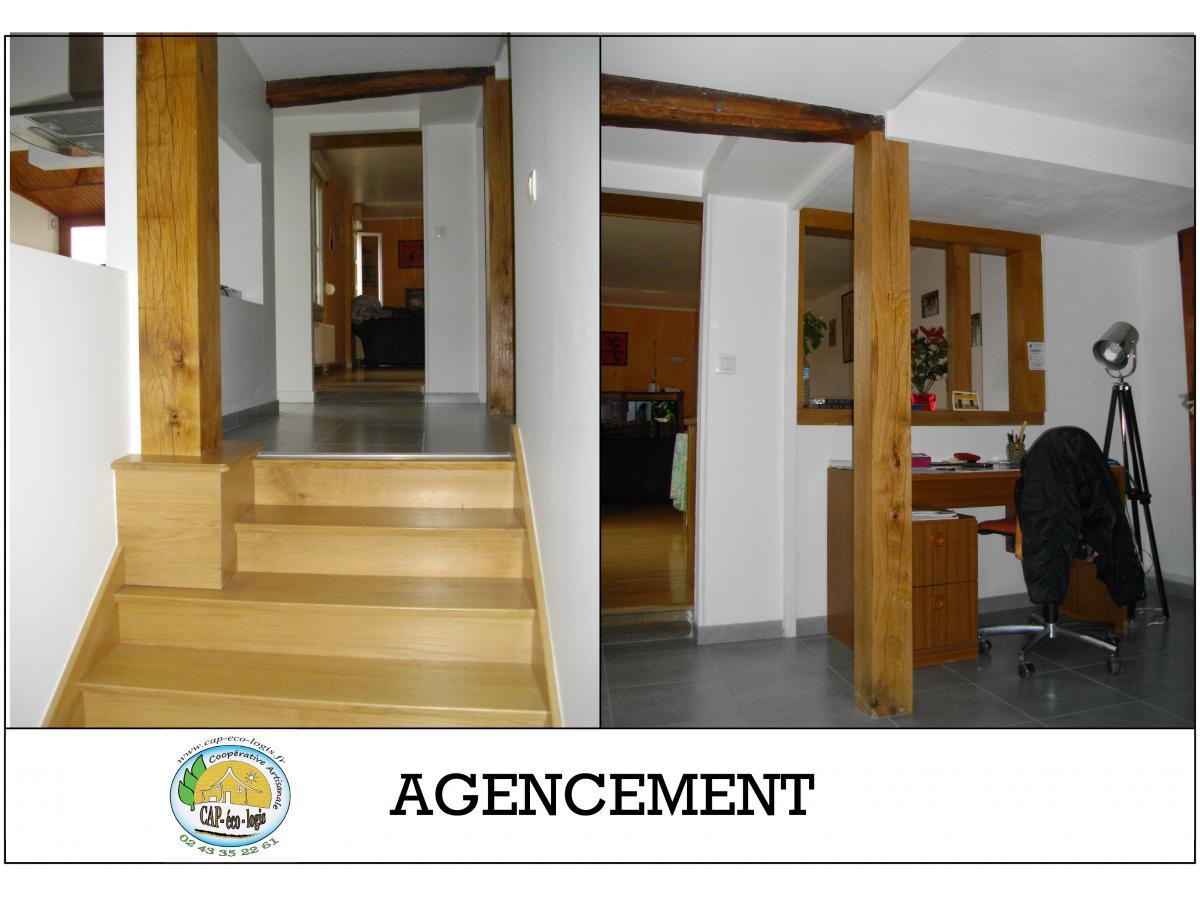 rénovation d'un bureau et marches bois